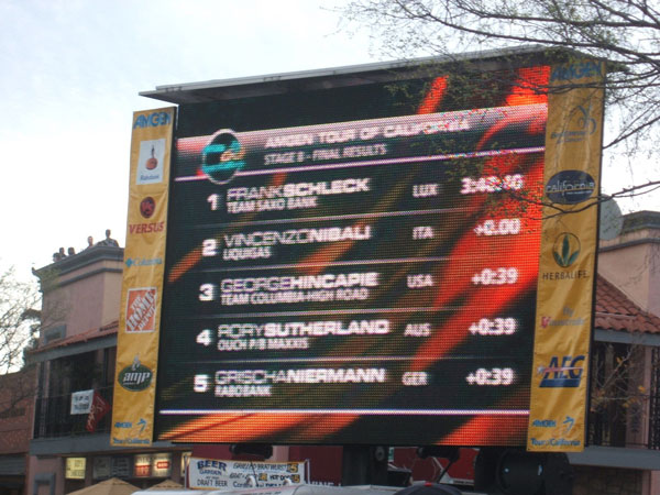 the finishing order flashes on the jumbotron