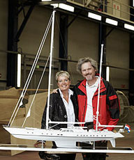 Alice Huisman with Bill Joy and a model of his yacht