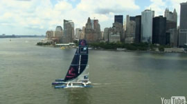 maxi-trimaran Banque Populaire arrives in New York