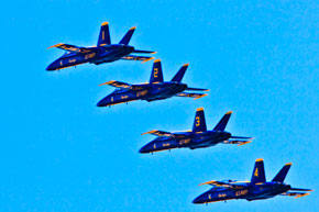 the Blue Angels in formation