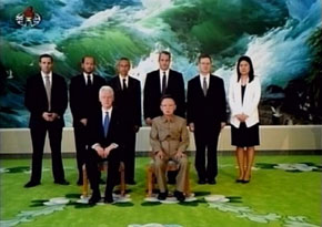 Bill Clinton with North Korean leader Kim Jong-Il