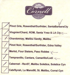 Cornell Winery tasting notes