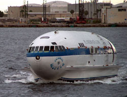 the Cosmic Muffin - boat recycled from Howard Hughes' plane