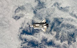 Space Shuttle Endeavor as seen from the ISS