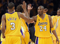 Kobe fives Trevor in game 1 Thursday night; Lakers won 100-75