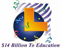California Lottery logo - $14B to education