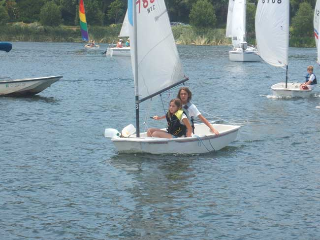 Megan and Madison sailing - before the Round the Island start