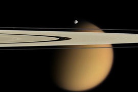 Saturn's rings with Titan in the background
