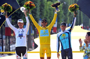 TDF 09 stage 21 - the final podium, Andy Schleck, Alberto Contador, Lance Armstrong
