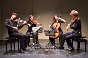 the Tin Alley string quartet entertain us with the beauty of music