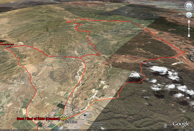 Wildflower Century: race route from the virtual air