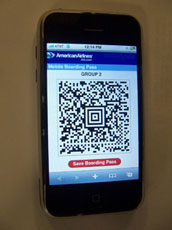 2D barcode on iPhone as boarding pass