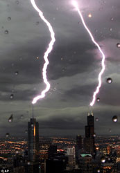 double lightning strike in Chicago