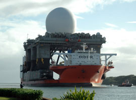 massive ship with radar platform