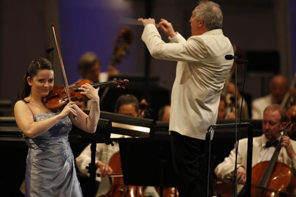 violin soloist Baiba Skride with conductor Bramwell Tovey