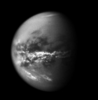it's raining (liquid methane) on Titan