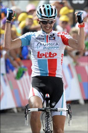 Jelle Vanendert is the surprise climber of this year's tour, winning stage 14 and taking the polka dot jersey