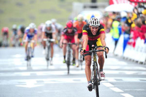 Philippe Gilbert blasts away from the peloton on the final climb