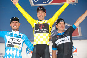final podium of the USPCC, Tejay Van Garderen (3rd), Levi Leipheimer (1st), and Christian Vande Velde (2nd)