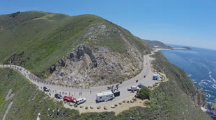 quadcopter at Big Sur, watching the Amgen Tour