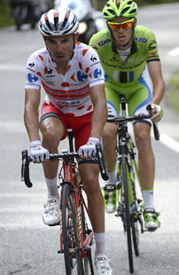 Joaquim Rodriques crests the Col d'Izouard ahead of Alexendre De Marche on the way to a polka dot jersey