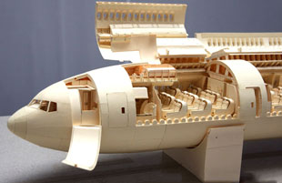 Boeing 777 model made from manila folder pieces