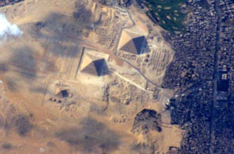 Egyptian pyramids from the ISS
