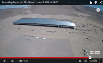 drone flyover of the Tesla Gigafactory