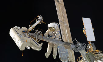 ISS cosmonauts take a spacewalk