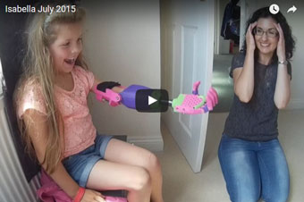 girl with 3D-printed prosthetic arm