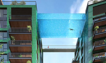 glass-bottomed sky pool is 115' in the air
