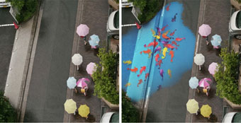 project Monsoon: river-themed street murals which only appear when it rains