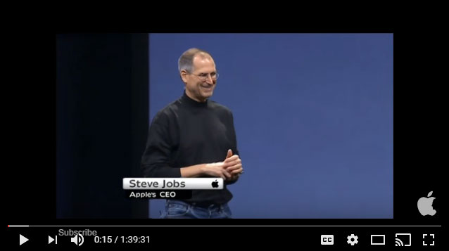 Steve Jobs introduces the iPhone, Jan 10, 2007