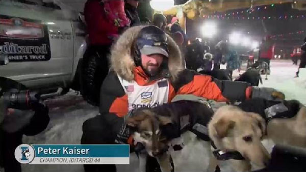 Peter Kaiser, 2019 Iditarod champion with his lead dogs