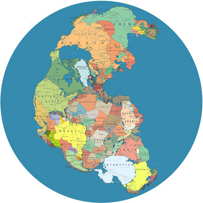 Pangea with modern-day borders