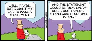 "Dogbert explains ""fungible"" to Dilbert"