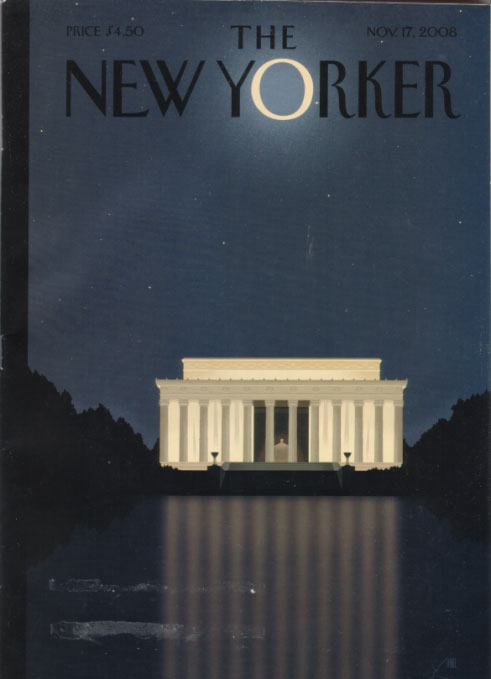 "New Yorker 11/17/08 cover - ""reflections"""