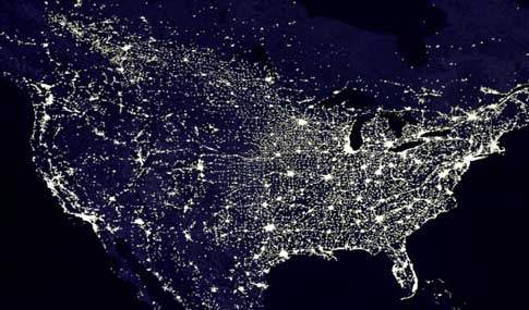 USA at night from space